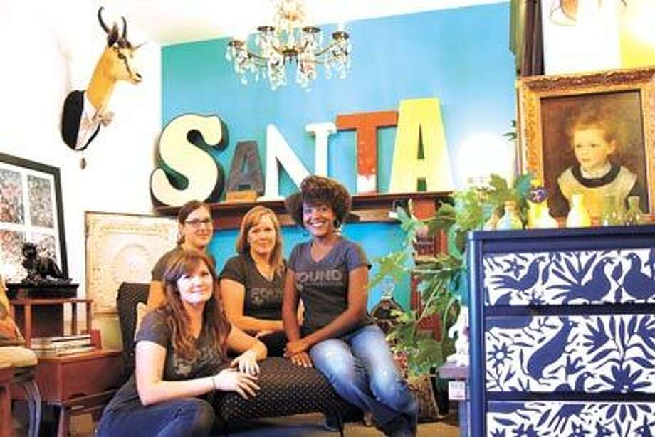 LOOK WHAT THEY FOUND Everyone at Found Furnishings (Front) Kristen Covington, (Back row, from left): Jeanne Eads, Sari Smith and Shanti Terry invite you to browse their delightful and ever-changing selection. They're at 428 Andrews Highway.