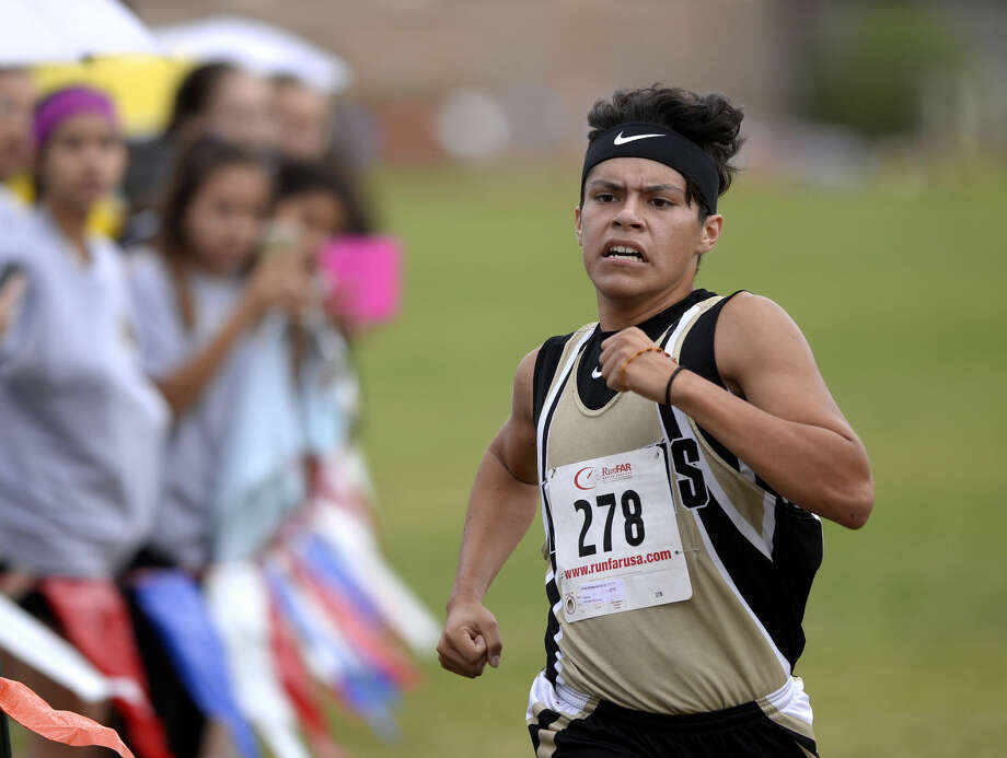 Andrews' Alvaro Hernandez finishes second in the Tall City Invitational varsity boys cross-country race with a time of 19:01.11 on Saturday, August 29, 2015, at Beal Park. James Durbin/Reporter-Telegram Photo: James Durbin