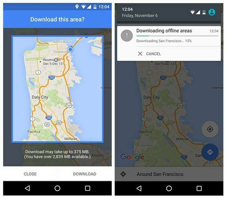 This smartphone screen grab provided by Google shows a map of the San Francisco Bay Area during a demonstration of Google Maps' new offline navigation option. With an update for Android phones Tuesday, Nov. 10, 2015, users will be able to search nearby businesses and get driving directions, including turn-by-turn voice prompts, even if the Internet connection is spotty or non-existent. Google said a version for iPhones will come soon. (Google via AP) Photo: HONS