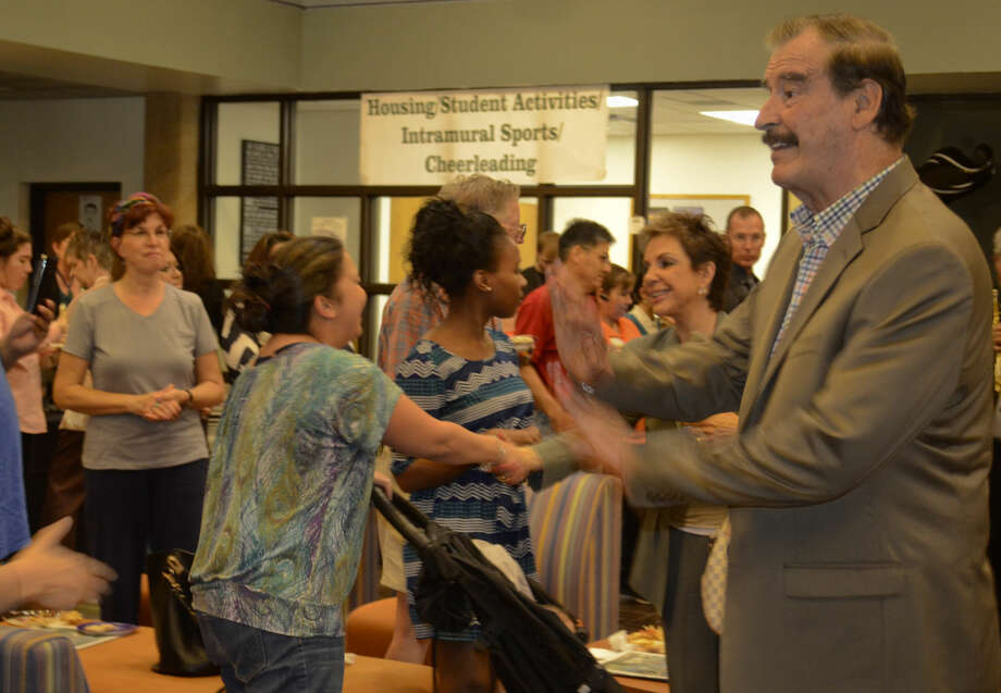 Marta and Vicente Fox, former President of Mexico, greet students and faculty during a Diez y Seis celebration at Midland College Scharbauer Student Center Tuesday afternoon. Tim Fischer\Reporter-Telegram Photo: Tim Fischer