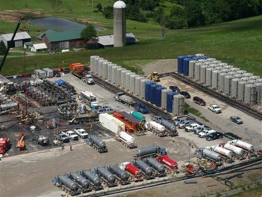 This 2012 image provided by Stanford University, shows fracking operations at a wellpad overlying the Marcellus Formation in Pennsylvania. A new study says that the drilling procedure called fracking didn't cause much-publicized cases of tainted water, blaming contamination on leaky natural gas wells instead. (AP Photo/Stanford University, Rob Jackson) Photo: Rob Jackson
