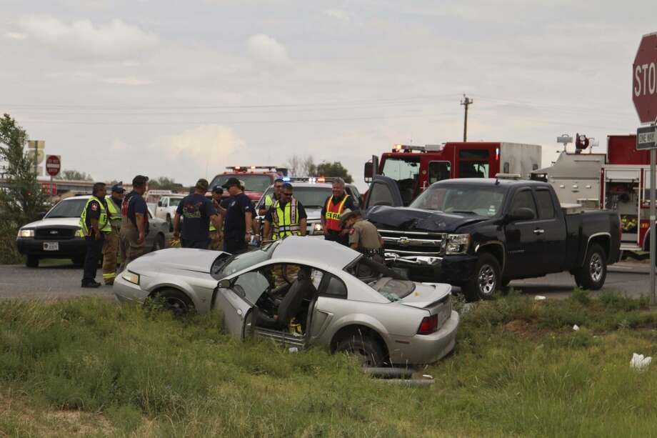 Two people from this Ford Mustang were transported with injuries to Midland Memorial Hospital Tuesday after the vehicle was involved in a crash on Business 20 near East Interstate 20. Tyler White/Reporter-Telegram Photo: Tyler White