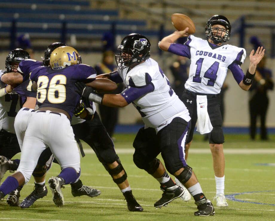 El Paso Franklin quarterback Baylor Romney throws against Midland High on Friday at Grande Communications Stadium. James Durbin/Reporter-Telegram Photo: James Durbin
