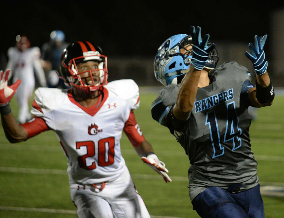 Greenwood's Tino Madrid looks back for a reception during a game against Brownfield Friday 9-4-2015. Tim Fischer\Reporter-Telegram Photo: Tim Fischer