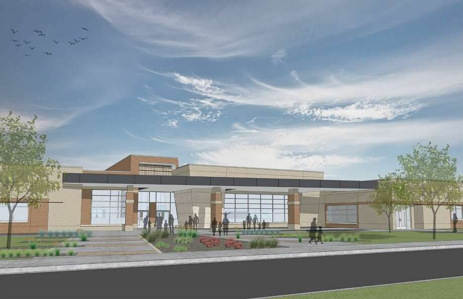 A Parkhill Smith & Cooper rendering from March 2014 shows the proposal for a new middle school. Photo: Courtesy Photo