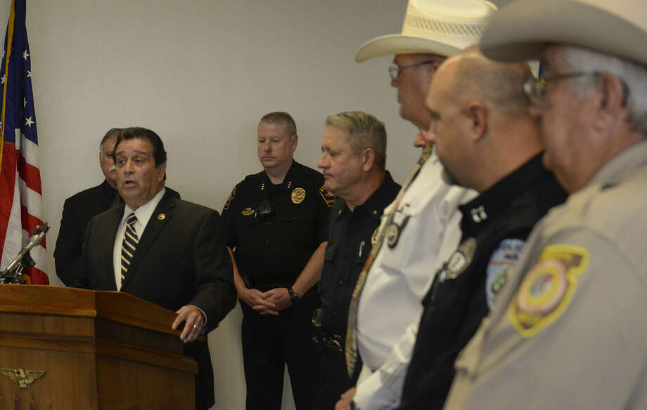 Robert Almonte US Marshal for the Western District of Texas speaks Wednesday during a press conference with Lone Star Task Force members announce a focused effort to arrest domestic violence abusers. Tim Fischer\Reporter-Telegram Photo: Tim Fischer
