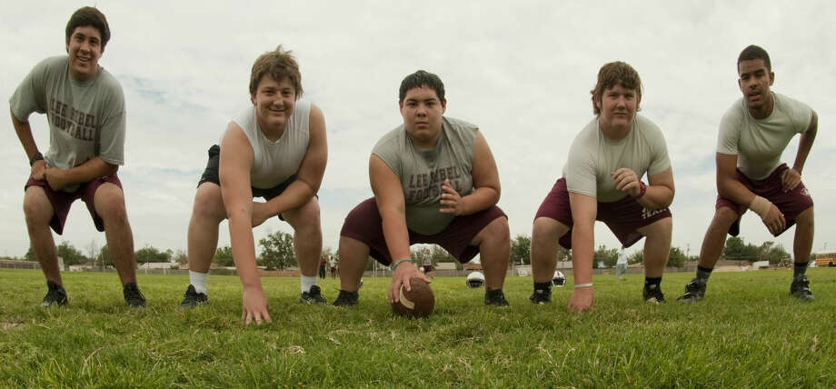 Lee High offensive line, Griffin Quintero, Nick Dennis, Mark Pena, Brock Murry and Michael Marsh. Tim Fischer\Reporter-Telegram Photo: Tim Fischer