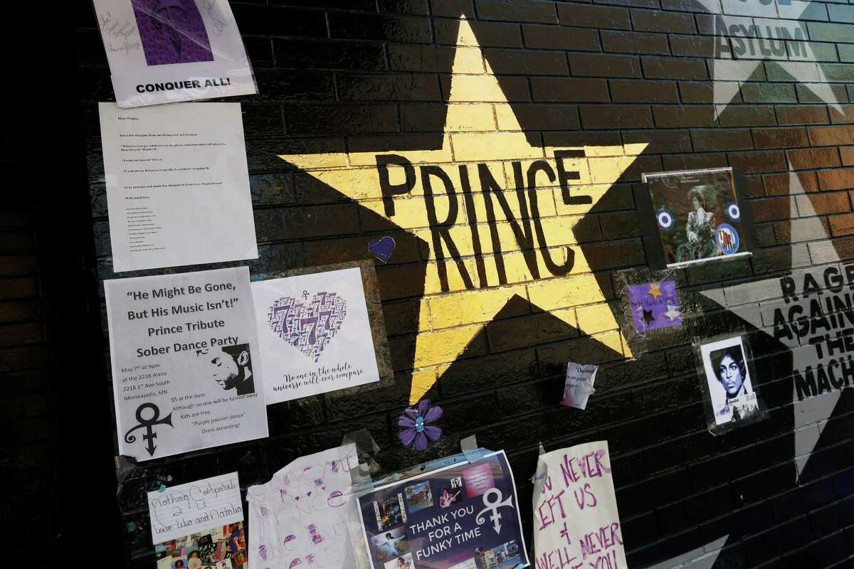 A star honoring Prince, now painted gold, stands out on the wall Thursday, May 5, 2016 at a memorial for the singer at First Avenue in Minneapolis, a venue where he often performed. The pop rock singer died on April 21 at the age of 57. (AP Photo/Jim Mone) ORG XMIT: MP101