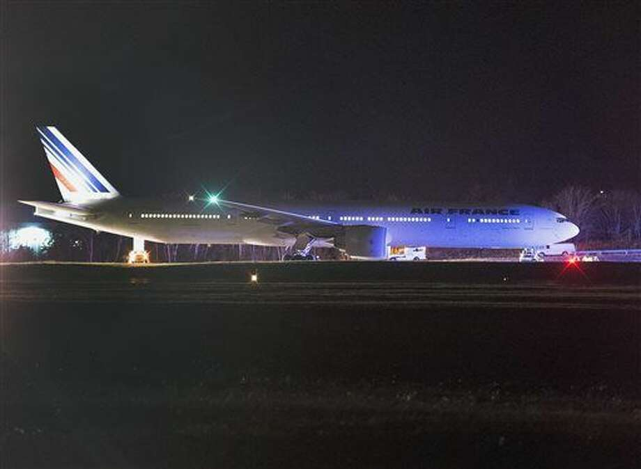 An Air France plane sits on the tarmac after it was diverted to Halifax Stanfield International Airport near Halifax, Nova Scotia, Wednesday, Nov. 18, 2015. Two Air France flights bound for Paris from the U.S. had to be diverted because of anonymous threats received after they had taken off, but both planes landed safely in North America, officials said. (Andrew Vaughan/The Canadian Press via AP) MANDATORY CREDIT Photo: Andrew Vaughan