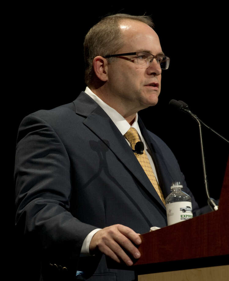 Joey Hall, executive vice president, Permian operations with Pioneer Natural Resources Co. speaks Tuesday 11-10-2015 during the Executive Oil Conference at the Midland County Horseshoe Pavilion. Tim Fischer\Reporter-Telegram Photo: Tim Fischer