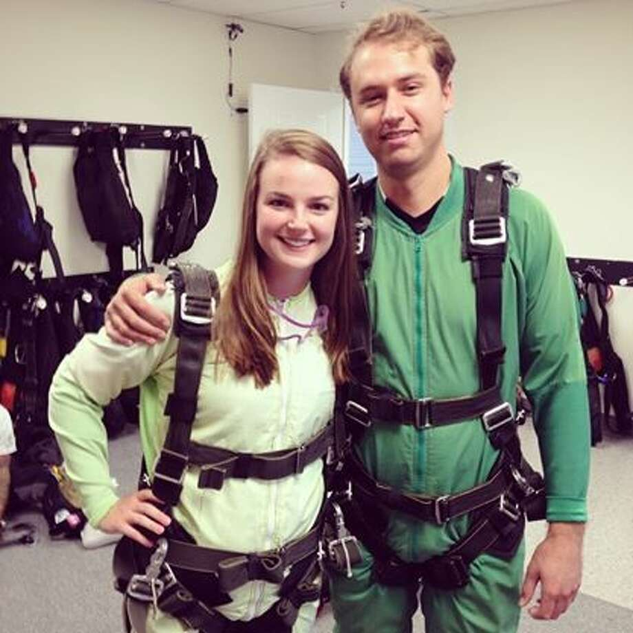 Tessa Duvall and Luis Cortazar are back down to Earth after skydiving near San Marcos in August. Photo: Courtesy Photo