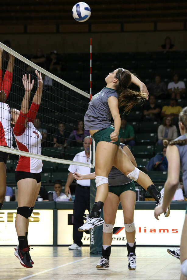 Midland College's Shelby Bartley goes for a kill during Saturday's match with Trinity Valley Community College at Chaparral Center. Forrest Allen/MC Athletics