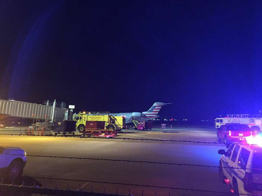 American Eagle flight 2791 landed at 11:05 p.m. Tuesday at Midland International Airport with 69 people on board. Photo: Tyler White\Reporter-Telegram