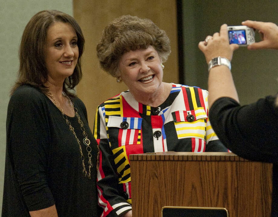 Stacy Zalmanzig poses for a picture with author Lelia Meacham before her talk Friday during a session at Midland College for Books in the Basin. Tim Fischer\Reporter-Telegram Photo: Tim Fischer