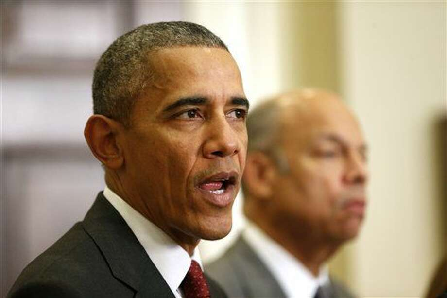 President Barack Obama, accompanied by Homeland Security Secretary Jeh Johnson, speaks in the Roosevelt Room of the White House in Washington, Wednesday, Nov. 25, 2015, to brief the public on the nation's homeland security posture heading into the holiday season, following meeting with his national security team. (AP Photo/Pablo Martinez Monsivais) Photo: Pablo Martinez Monsivais