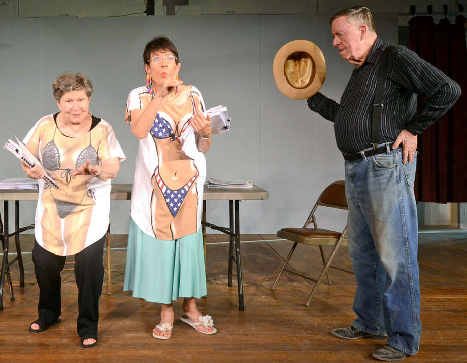 "From left, Charlyne Dodge (""Lilly""), Marion Kimberly (""Milly"") and Harry Harrison (""Big Earl"") rehearse a scene for the Maverick Players performance of ""Real Close To Broadway"" at the VFW Hall on Veterans Airpark Road. Photo: James Durbin/Reporter-Telegram"