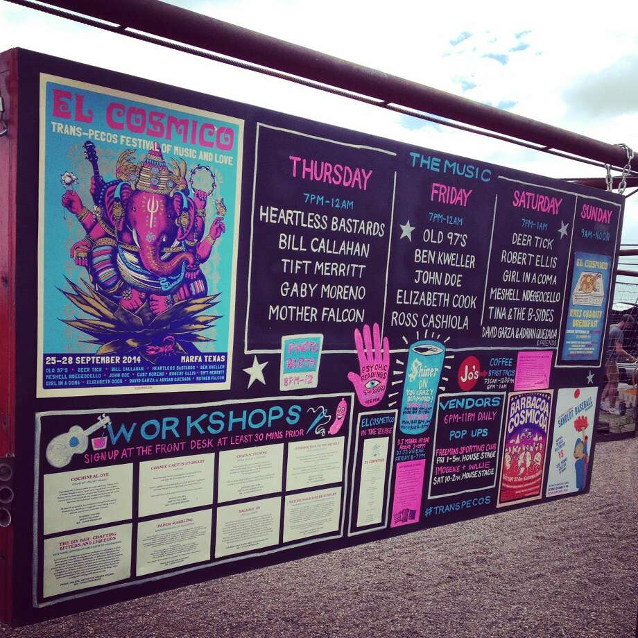 The daily schedule of bands, workshops and events in the outdoor lounge of El Cosmico. Photo: Rich Lopez/Reporter-Telegram