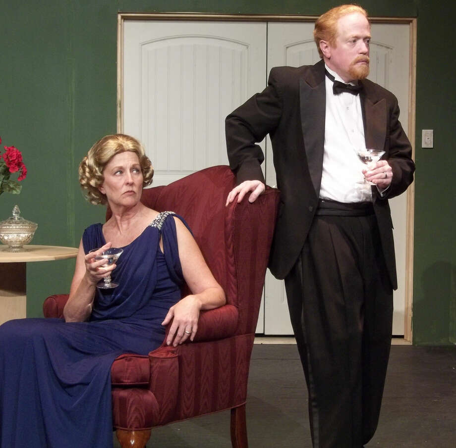 Comic banter turns to solemn reflection when the Condomines' (Paula Waldrop and Marvin LeMaster) conversation turns to the subject of Mr. Condomine's deceased first wife. Photo: Rich Lopez