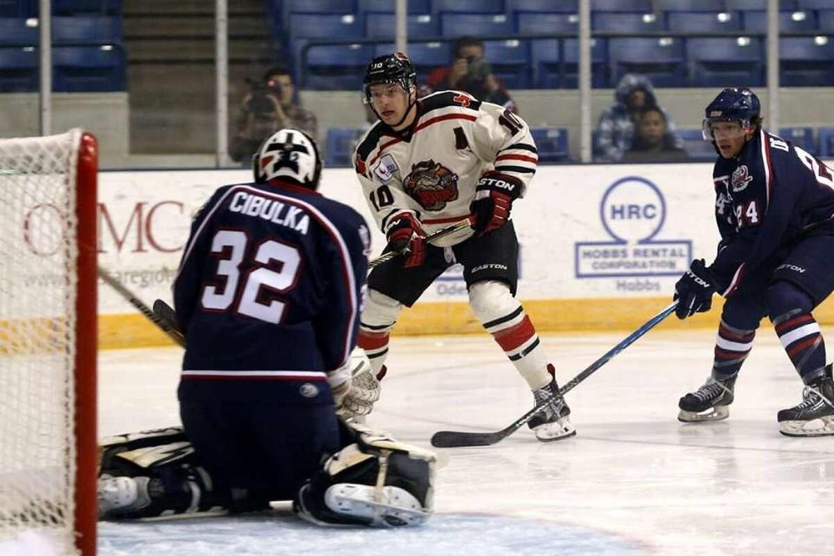 Odessa Jackalopes defenseman Danny Kiraly shoots during a game versus Topeka. Photo by Mark Nicholas