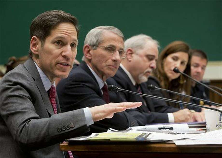 Centers for Disease Control and Prevention (CDC), Director Dr. Tom Frieden, far left, testifies as he sits on a panel with, from second from left,, Dr. Anthony Fauci, director of The National Institute of Allergy and Infectious Diseases, Dr. Robin Robinson, director of the Biomedical Advanced Research and Development Authority at the U.S. Department of Health and Human Service, Dr. Luciana Borio, assistant commissioner for counterterrorism policy at the U.S. Food and Drug Administration and John Wagner, the Acting assistant Commissioner at the Office of Field Operations for U.S. Customs and Border Protection, testify on Capitol Hill in Washington, Thursday, Oct. 16, 2014, before the House Energy and Commerce Committee's subcommittee on Oversight and Investigations hearing to examine the government's response to contain the disease and whether America's hospitals and health care workers are adequately prepared for Ebola patients. (AP Photo/Pablo Martinez Monsivais) Photo: Pablo Martinez Monsivais