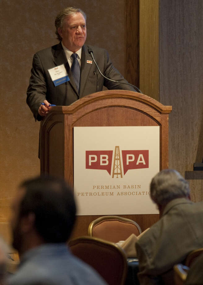 Ben Sheppard president of Permian Basin Petroleum Association welcomes a full room to the morning breakfast Thursday for the annual meeting. Tim Fischer\Reporter-Telegram