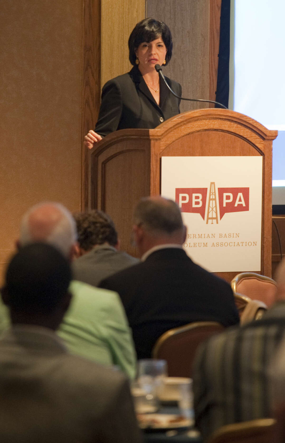 Christi Craddick chairman of the Texas Railroad Commission speaks at the Permian Basin Petroleum Association morning breakfast Thursday for the annual meeting. Tim Fischer\Reporter-Telegram