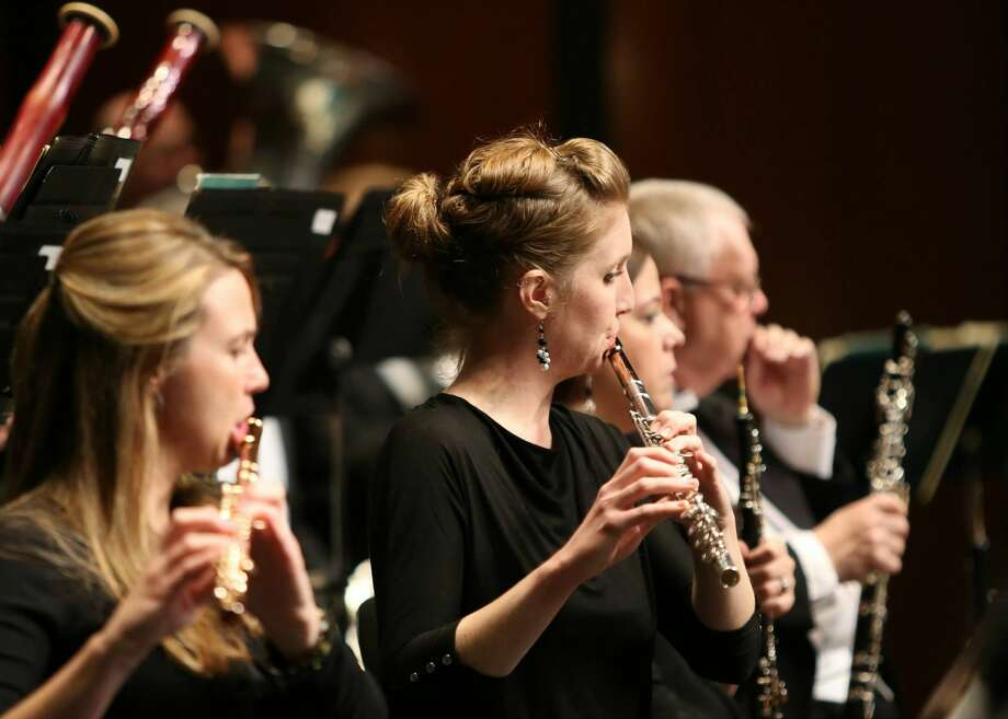 "MOSC flutist Melissa Graham, performing at the 2014 show ""Carmina Burana,"" is also a member of the West Texas Winds Ensemble quintet. Photo: Courtesy MOSC."