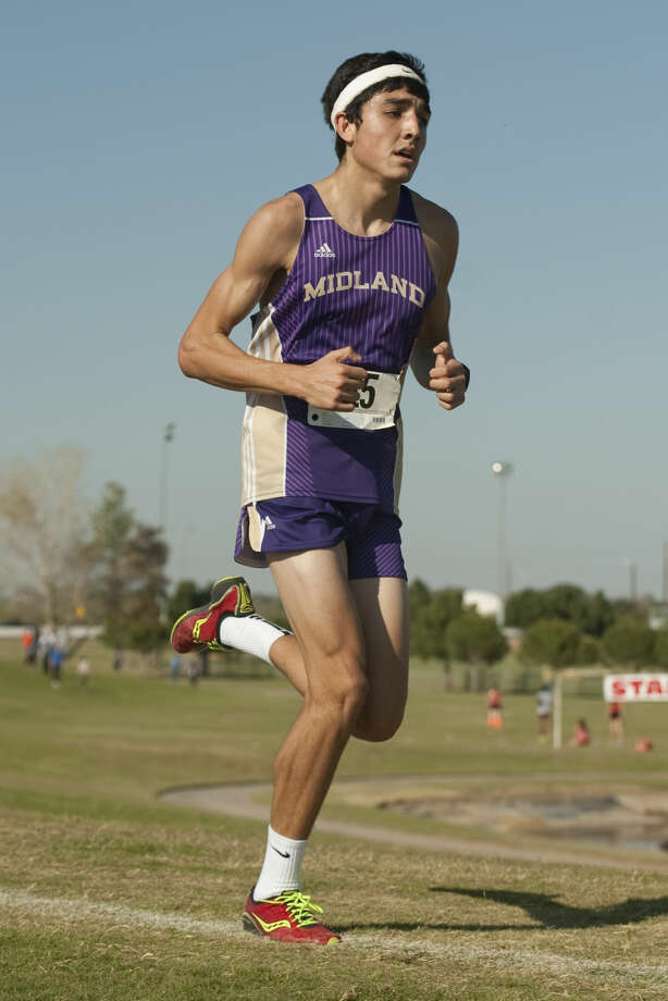 Midland High's Bryce Hoppel makes his way through the course at UTPB Park Thursday afternoon. Tim Fischer\Reporter-Telegram Photo: Tim Fischer