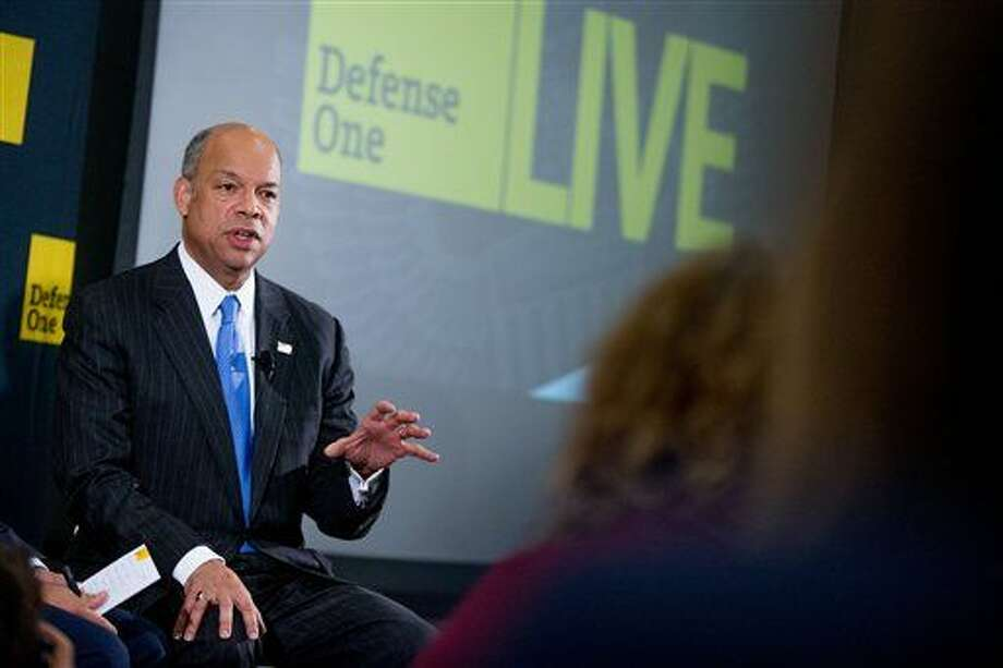 "Secretary of Homeland Security Jeh Johnson speaks at a Defense One ""leadership briefing"" in Washington, Monday, Dec. 7, 2015, on the agency's efforts to tackle growing terrorism threats in the U.S. and abroad. (AP Photo/Andrew Harnik) Photo: Andrew Harnik"