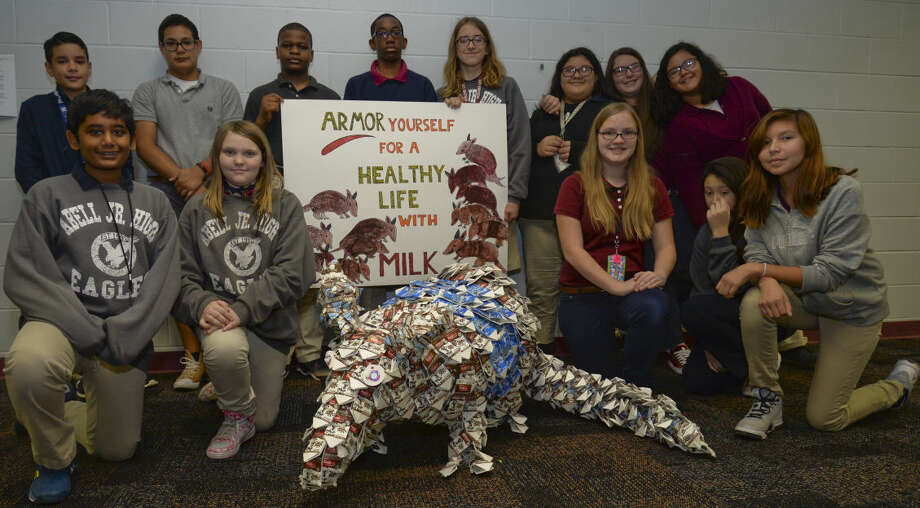 Abell Junior High students show off Milkey, an armadillo made from milk cartons, Wednesday 12-02-2015 as they compete with other schools from across the country for a $2500 prize for their creation. Tim Fischer\Reporter-Telegram Photo: Tim Fischer
