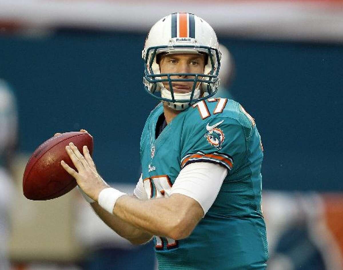 Lynne Sladky/APBig Spring graduate and Miami Dolphins quarterback Ryan Tannehill looks to throw during an Aug. 24 preseason game in Miami.