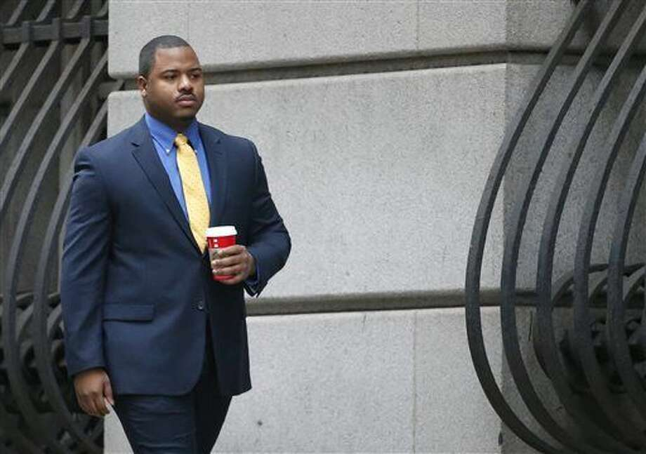 FILE - In this Nov. 30, 2015 file photo, William Porter, one of six Baltimore city police officers charged in connection to the death of Freddie Gray, arrives at a courthouse for jury selection in his trial in Baltimore. The city of Baltimore was bracing for a verdict as closing arguments were planned Monday from defense lawyers for Porter. (Rob Carr/Pool Photo via AP, File) Photo: Rob Carr