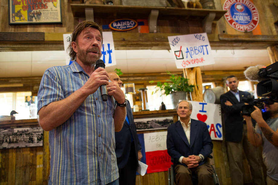 Actor Chuck Norris Monday afternoon speaks to a crowd gathered at Clear Springs Restaurant in Midland during a campaign stop for Republican gubernatorial candidate Greg Abbott. Photo: Courtney Sacco