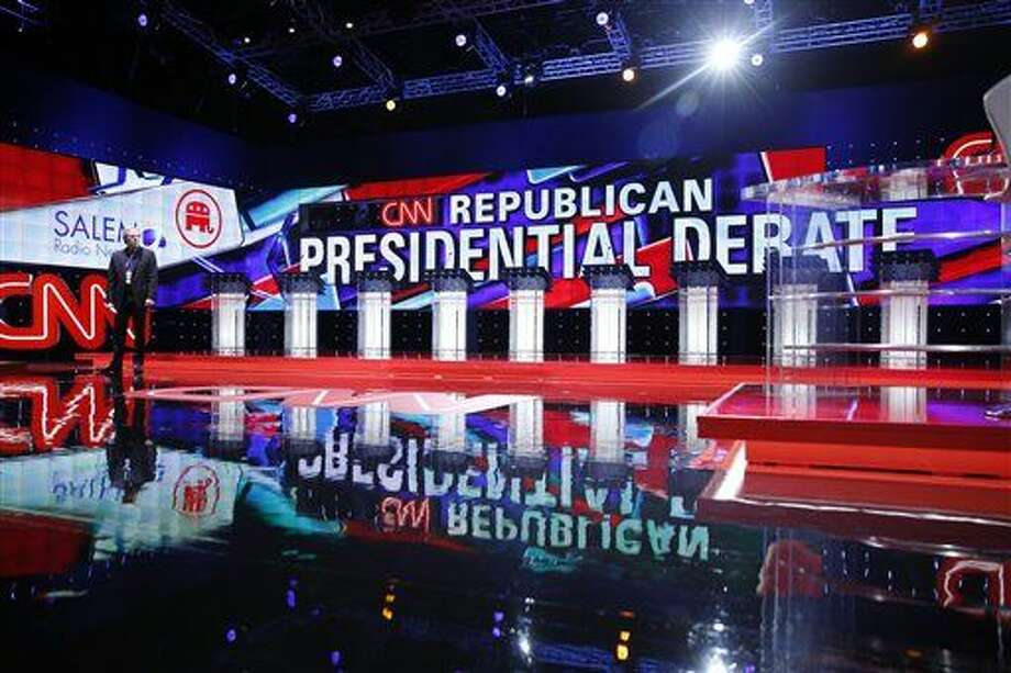 Podiums line the stage before the CNN Republican presidential debate at the Venetian Hotel & Casino on Tuesday, Dec. 15, 2015, in Las Vegas. (AP Photo/John Locher) Photo: John Locher