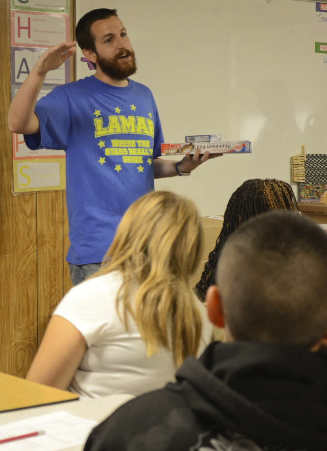 Josh Minett fifth grade science and math teacher at Lamar Elementary talks about the new equipment he requested through a grant for new educational supplies from Kent Krik and Chevron. Tim Fischer\Reporter-Telegram Photo: Tim Fischer