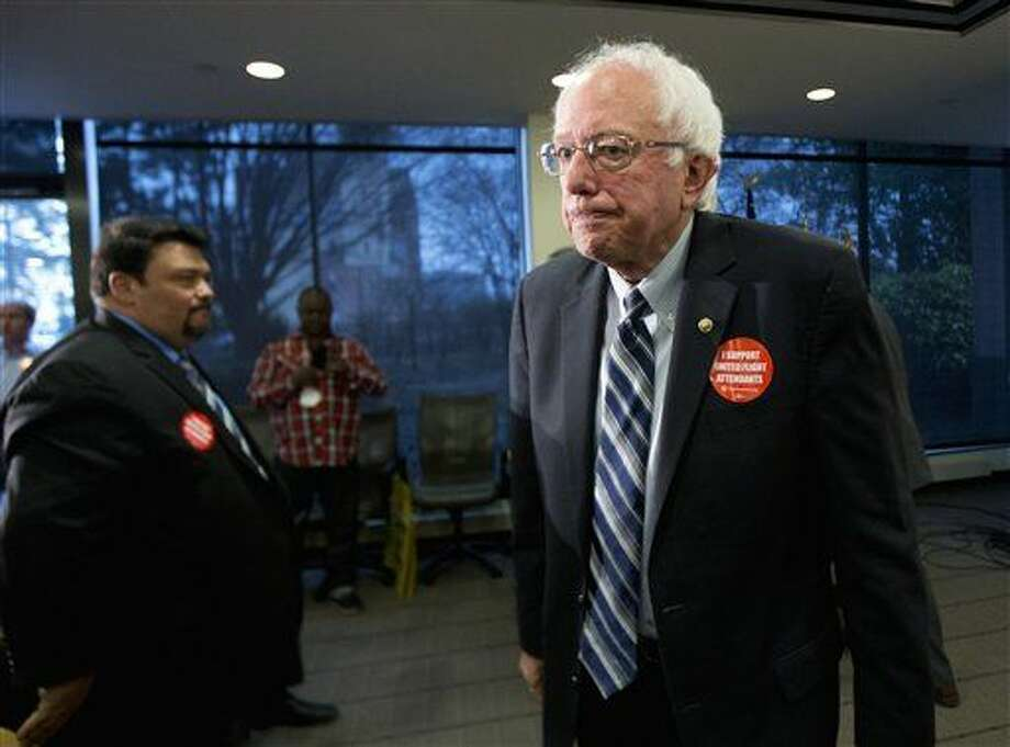 Democratic presidential candidate Sen. Bernie Sanders, I-Vt., leaves a news conference where he was endorsed by members of the Communication Workers of America (CWA), Thursday, Dec. 17, 2015, at the CWA's headquarters in Washington. (AP Photo/Manuel Balce Ceneta) Photo: Manuel Balce Ceneta