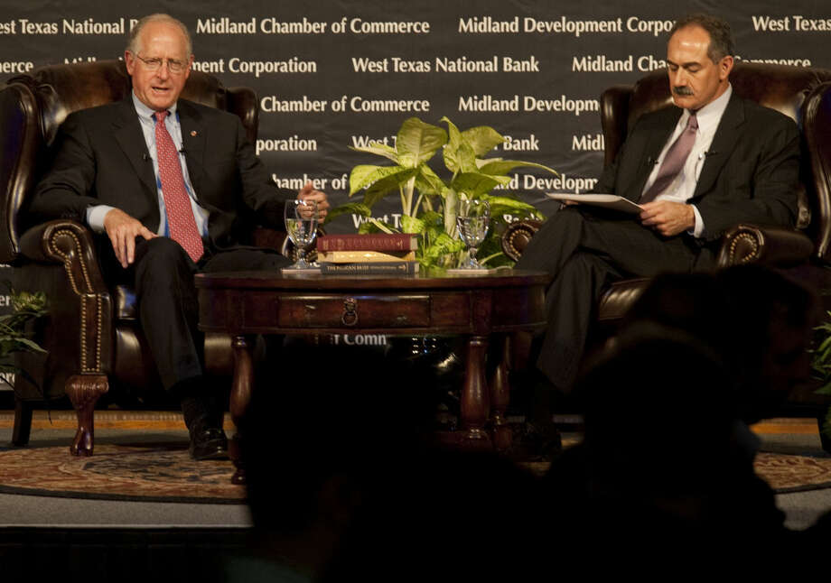 U.S. Rep Mike Conaway answers questions posed by Mitch Mamoulides Thursday during the 4th Annual State of the Economy luncheon with Midland Chamber of Commerce and Midland Development Corporation. Tim Fischer\Reporter-Telegram Photo: Tim Fischer