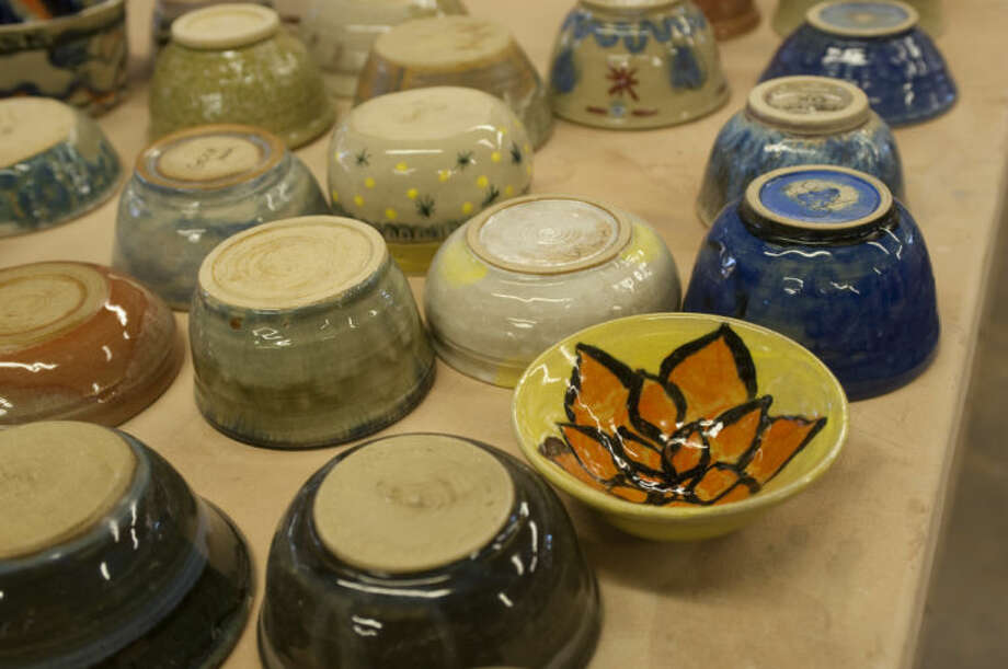 Some of the finished bowls made by Trinity students. Trinity students, MISD students and area artists are hand making more than 600 bowls to serve soup out of to help raise money for the West Texas Food Bank. Tim Fischer\Reporter-Telegram Photo: Tim Fischer