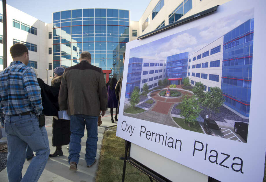 Visitors and guests make their way inside on Dec. 18, 2015 at the opening of the new Occidental Petroleum Corporation Midland office complex. Tim Fischer\Reporter-Telegram Photo: Tim Fischer