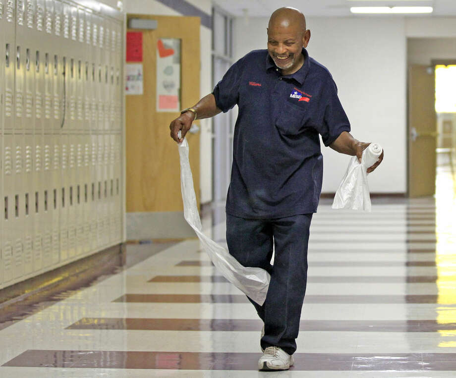 Archie Williams, custodian at Midland Freshman High School, at work on Monday at the school. James Durbin/Reporter-Telegram Photo: James Durbin