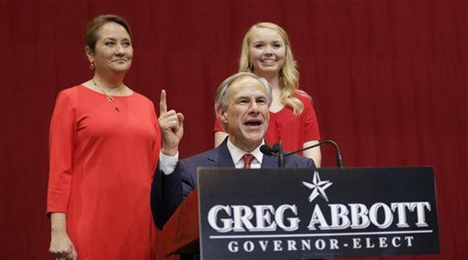 Texas Governor-elect Greg Abbott delivers his victory speech Tuesday in Austin. Abbott defeated Democrat Wendy Davis to win the race for Texas governor. Photo: David J. Phillip/Associated Press