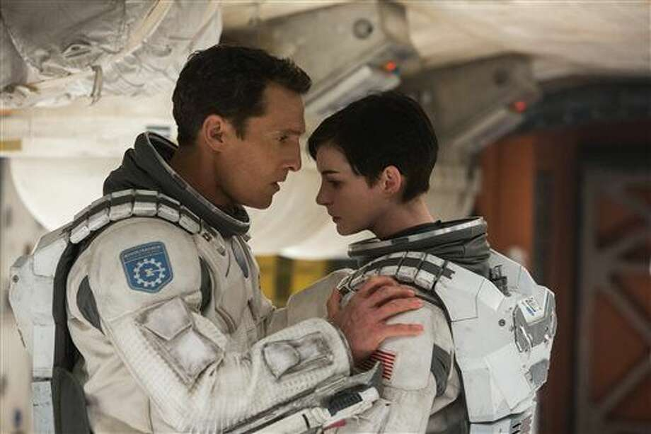 "This photo released by Paramount Pictures shows, Matthew McConaughey, left, and Anne Hathaway, in a scene from the film, '""Interstellar,"" from Paramount Pictures and Warner Brothers Pictures, in association with Legendary Pictures. Photo: AP Photo/Paramount Pictures, Melinda Sue Gordon"