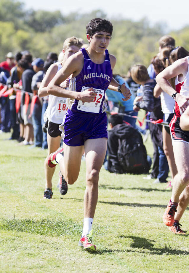 Midland junior Bryce Hoppel runs along the course during the UIL Region 1 Cross Country Championship on Friday at Mae Simmons Park in Lubbock. Hoppel finished in second place with a 14:54.01 final time. Photo: Brad Tollefson