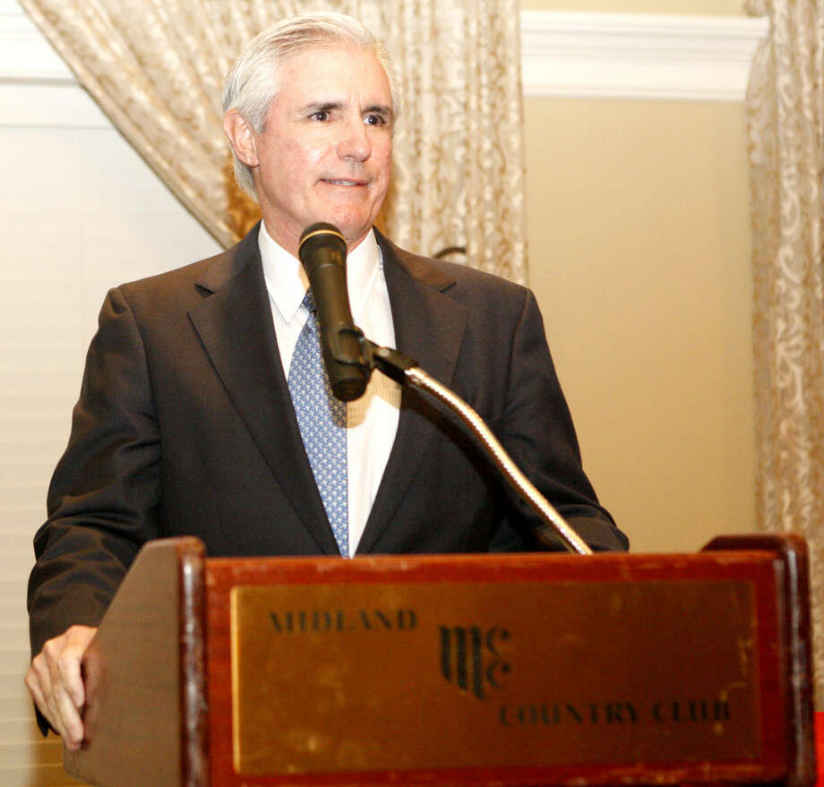 Tim Leach, President and CEO of Concho Resources, is honored during the Buffalo Trail Council's Distinguished Citizen Dinner on Tuesday at Midland Country Club. James Durbin/Reporter-Telegram Photo: James Durbin