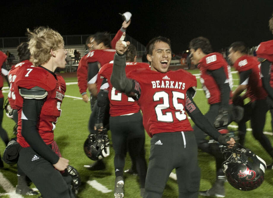 Garden City players celebrate their mercy-rule win over Sterling City Friday at Bearkat Stadium. Tim Fischer\Reporter-Telegram Photo: Tim Fischer