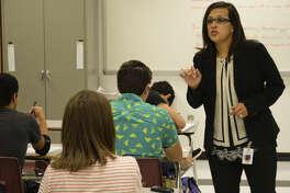 Classroom Pioneer Amanda Melchor-McCown, AP English Language & Composition at Lee High School. Tuesday 9-29-2015. Tim Fischer\Reporter-Telegram