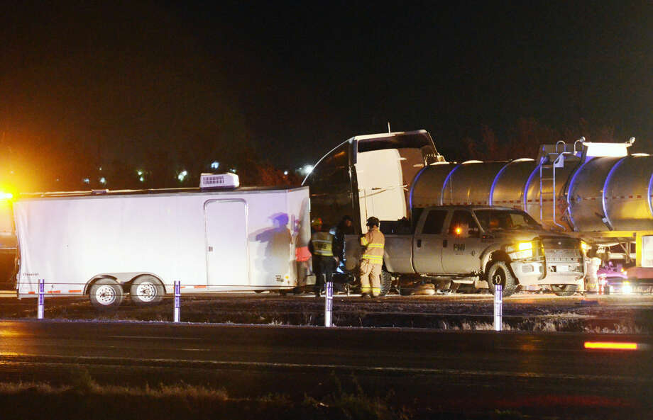 Two semi-trailer trucks and a pickup were involved in a wreck Tuesday night in Interstate-20 near the Garden City Highway exit.  Photo: James Durbin/Reporter-Telegram