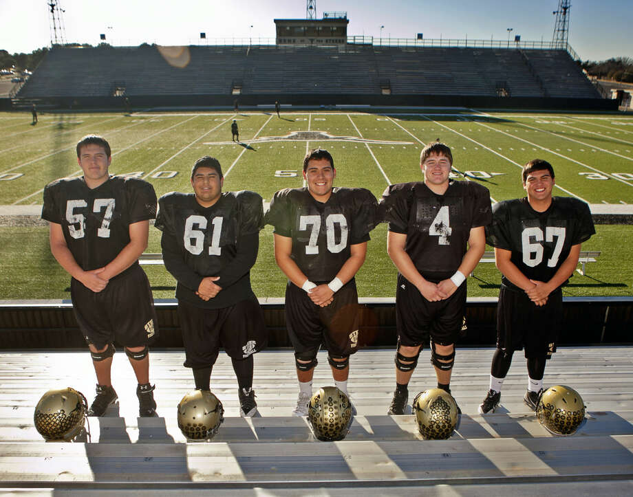 Big Spring High offensive linemen from left, Nick Conner, Nick Dehoyos, Nick Sotelo, Charlie Boling and Bryson Burt pose for a photo before team practice Tuesday at Memorial Stadium in Big Spring. James Durbin/Reporter-Telegram Photo: James Durbin
