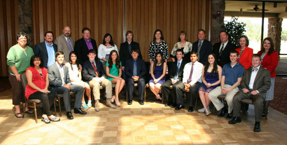 Photo courtesy of Midland ISD Midland ISD's highest-achieving academic seniors and their mentor teachers were honored from the Education Foundation April 14, 2013 at Green Tree Country Club. Back row: Veronica Abila, Cory Callaway, Mark LaCroix, Chris Hightower, Michelle Navarrete, Mark Teel, Karen Murdoch, Cindy Wiebusch, Chris Bryant, Eric Smith, Paula Edwards and Lathrice Davis. Front row: Jessica Gutierrez, Matthew Fitzgerald, Morgan Kratzer, Zachary Andrews, M�Leah Clepper, Jay McDoniel, Christiana Lee, Jordan Darling, Felipe Sinisterra, Sydney Ramirez, Charles Winkley and Wesley Davis.