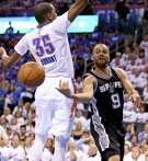 San Antonio Spurs' Tony Parker passes around Oklahoma City Thunder's Kevin Durant during second half action of Game 3 in the Western Conference semifinals Friday May 6, 2016 at Chesapeake Energy Arena in Oklahoma City, Oklahoma. The Spurs won 100-96.